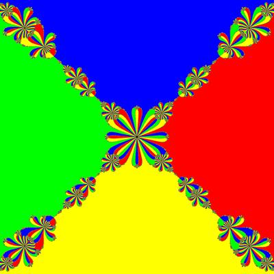 Basins of Attraction z^4-1=0, Rafiq-Rafiullah-Verfahren