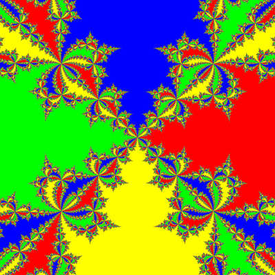 Basins of Attraction z^4-1=0 Newton-Verfahren modifiziert, a=1.98 B=[-10, 10]x[-10, 10]