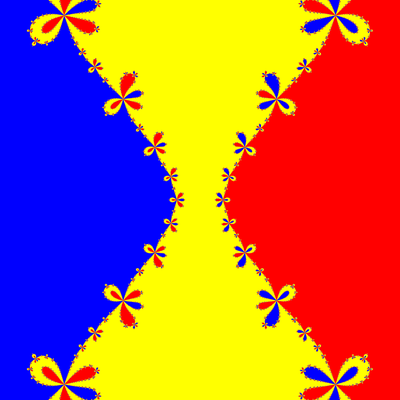 Basins of Attraction z^3-z=0, Euler-Chebyshev-Verfahren, m=1, B=[-5, 5]×[-5, 5]