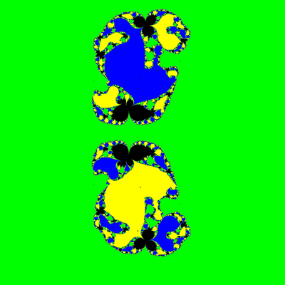 Basins of Attraction z^3-1=0, Sekanten-Verfahren, z<sub>1</sub>=(0.8, 0)