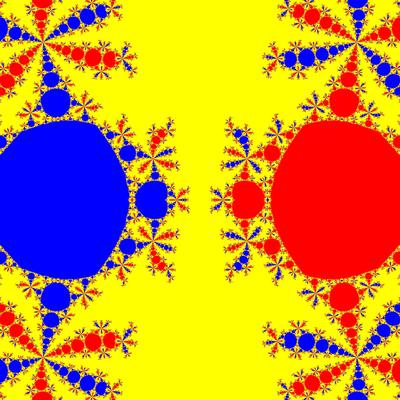 Basins of Attraction z^3-z=0, Euler-Chebyshev-Verfahren, m=1.8, B=[-5, 5]×[-5, 5]