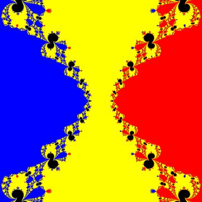 Basins of Attraction z^3-z=0, Contra Harmonic-Newton-Verfahren, B=[-5, 5]×[-5, 5]