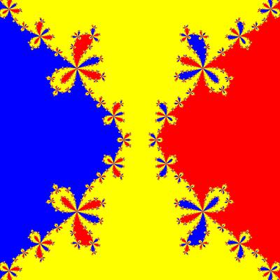 Basins of Attraction z^3-z=0, Euler-Chebyshev-Verfahren, m=1.5, B=[-5, 5]×[-5, 5]