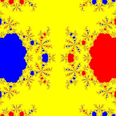 Basins of Attraction z^3-z=0, Euler-Chebyshev-Verfahren, m=2, B=[-5, 5]×[-5, 5]