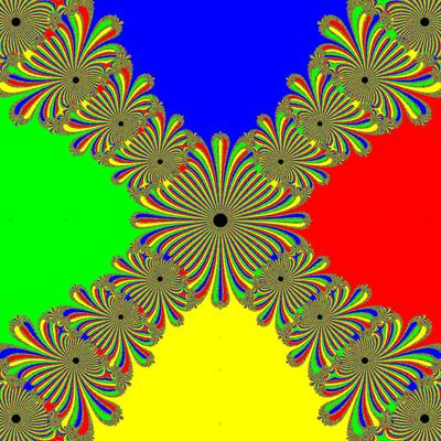 Basins of Attraction z^4-1=0, Kung-Traub-Verfahren
