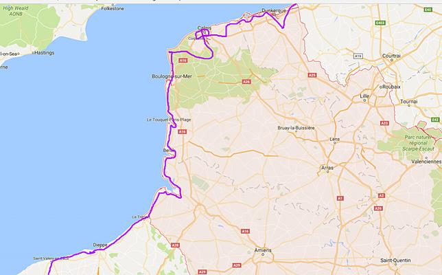 notre trajet Nord Pas de Calais