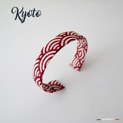 Bracelet tissu japonais rouge vagues