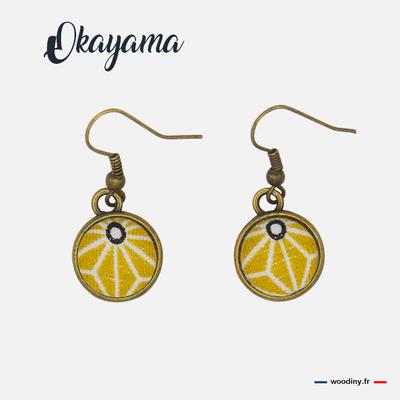 Boucles d'oreilles  jaune motif asanoha
