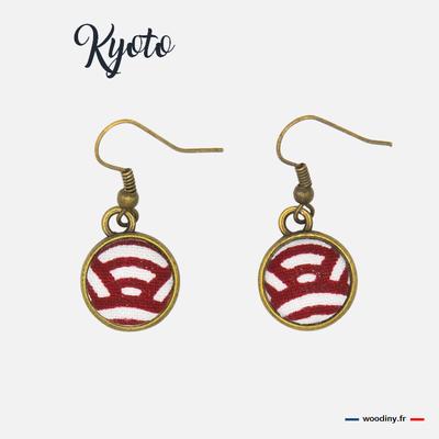 Boucle d'oreilles rouges motif japonais