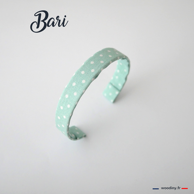 Bracelet tissu vert menthe à pois blancs