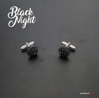 Boutons de manchette tissu noir