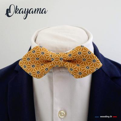 Noeud papillon jaune motif ashona japonais forme en pointe