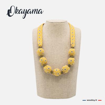 Collier tissu  jaune motif asanoha