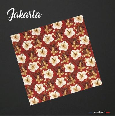 Pochette de costume rouge fleurs de tiaré