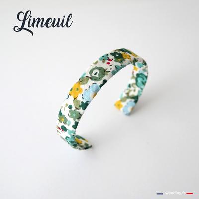 Bracelet fleuri vert et jaune