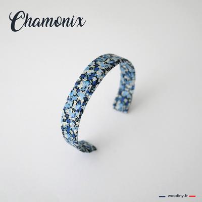 Bracelet tissu bleu fleuri
