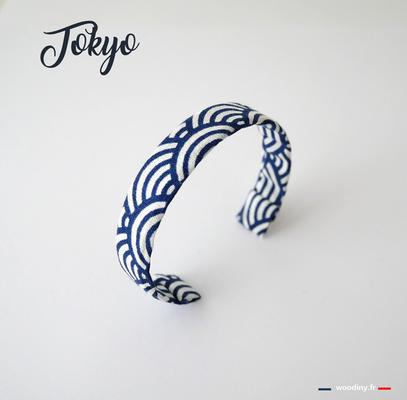 Bracelet tissu japonais bleu