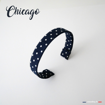 Bracelet tissu bleu à pois