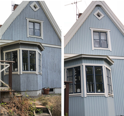 Fasadrenovering. En fasadrenovering innebär både panelbyte och målning. 4afa3443a4120