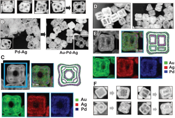(A) TEM images illustrating the stages of formation of hollow nanostructures by sequential action of galvanic replacement and Kirkendall effect. (B) TEM images showing the nanostructures dominated by galvanic replacement using palladium (left) and by Kirk