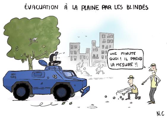 Dessin publié sur le de la Fondation Abbé Pierre au profit du collectif des sinistrés de la rue d'Aubagne à Marseille. *D'après «Fanny» de Marc Allégret, scène de la partie de boule.