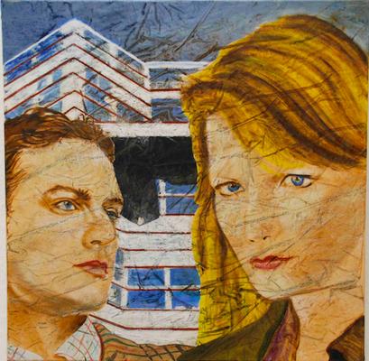 Conversazione a Berlino, (PUBBLICITTA'), olio su tela, cm 40x40, 2002