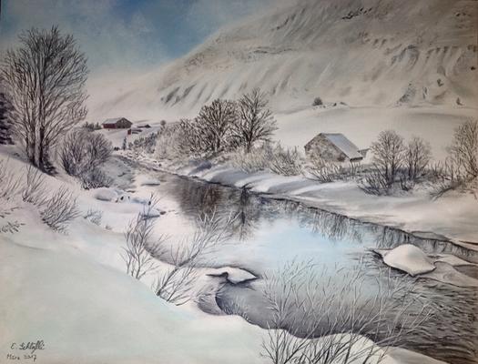 Flusslandschaft im Winter, Pastell, 30x42cm, Foto Jan Geerk