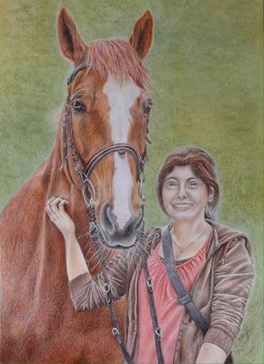 Pferd mit Mädchen, A3