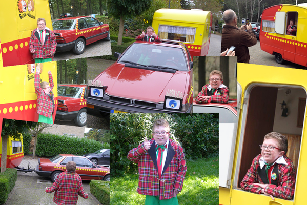In oktober 2014 werd Martijn ten Berge 23 jaar. En dat vierde hij met een heus Bassie-kostuum en een rondrit in de auto en caravan.