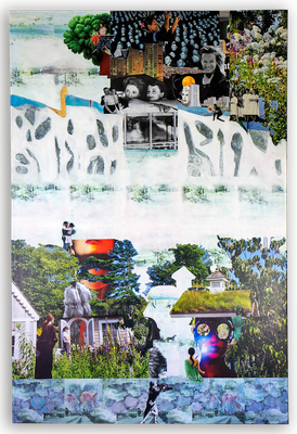 # 156  TELL ME ABOUT, Collage auf Leinwand, 100 cm x 120 cm, 2019