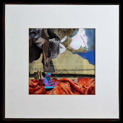 #123 DON`T WAIT,  Collage auf Papier 52 cm x 52 cm mit Rahmung, 2018