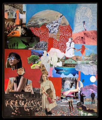 #108 EIN NEUES HOCHGEFÜHL, Wir sehen andere Menschen oft nicht wie sie sind, sondern wie wir sind,  Collage auf Leinwand 100 cm x 120 cm