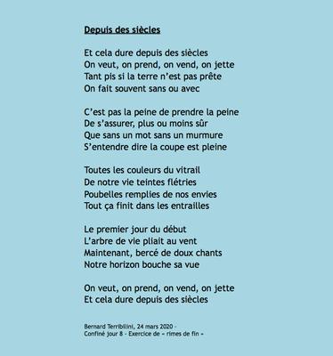 """""""Depuis des siècles"""" auteur Bernard Terribilini"""