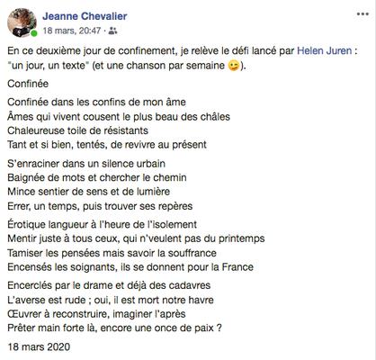 """""""Confinée"""" auteure : Jeanne Chevalier"""