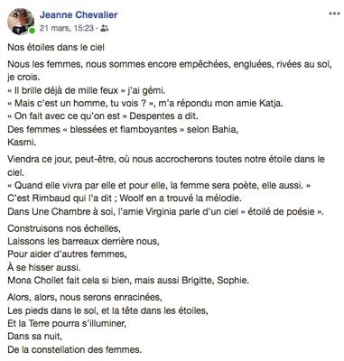 """""""Nos étoiles dans le ciel"""" auteure : Jeanne Chevalier"""