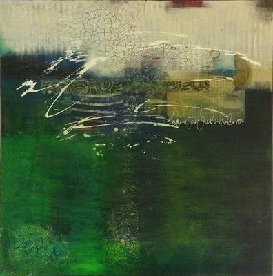 Collage in Grün   ...   Acryl auf Leinwand   ...   50 x 50 cm