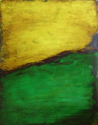 Gelb-Grün-Komposition   ...   Acryl auf Leinwand   ...   80 x 100 cm