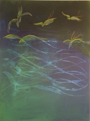 Möwen über Wasser   ...   Acryl auf Leinwand   100 x 120 cm