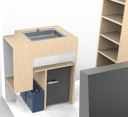 Meuble avec évier + frigo + réservoir d'eau propre et sale intégré