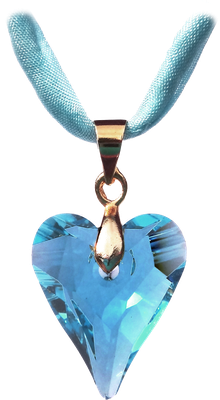 Swarovski Kristall Seidenband gold aquamarin