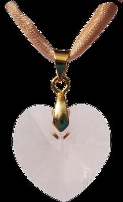 pfirsich zart Swarovski Kristall Herz gold Seidenband