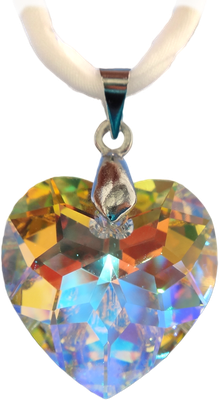 weiß durchscheinend Regenbogen Swarovski Kristall Herz silbern Seidenband
