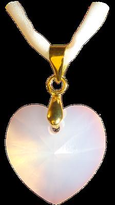 opal weiß gold Seidenband Swarovski Kristall Herz