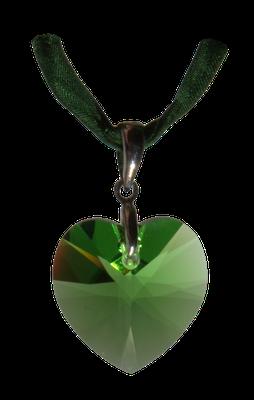 Kristallherz grün gruen Swarovski silber Seide