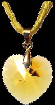 Gelb gold Swarovski Kristall Herz Seidenband