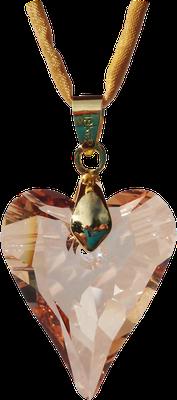 big groß golden gold Swarovski Kristall Herz Seidenband