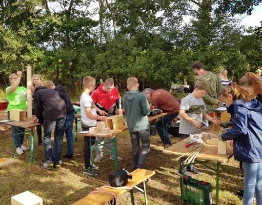 Bau von Wildbienenhotels – Foto: Stiftung Zukunft Wald