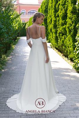 Brautkleid schlicht aus Chiffon mit Carmenträgern hinten