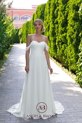 Brautkleid schlicht aus Chiffon mit Carmenträgern vorne