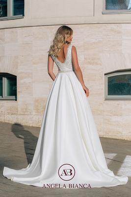 Brautkleid A-Linie aus Satin mit Glitzer und Taschen hinten
